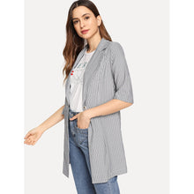 Load image into Gallery viewer, Button & Pocket Up Notched Neck Striped Blazer