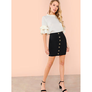 Button Front Bodycon Skirt