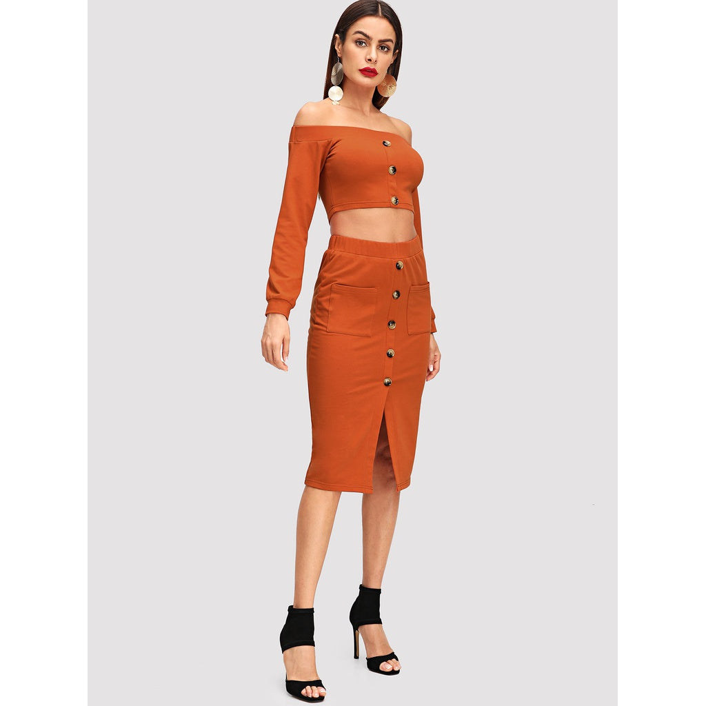 Button Up Crop Bardot Top & Skirt Set