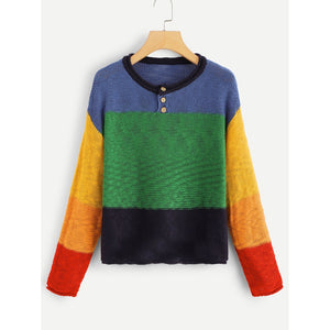 Button Detail Color Block Sweater