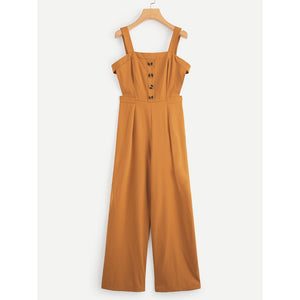 Button & Pocket Front Palazzo Leg Jumpsuit