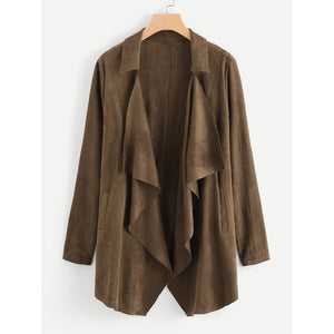 Waterfall Collar Suede Coat