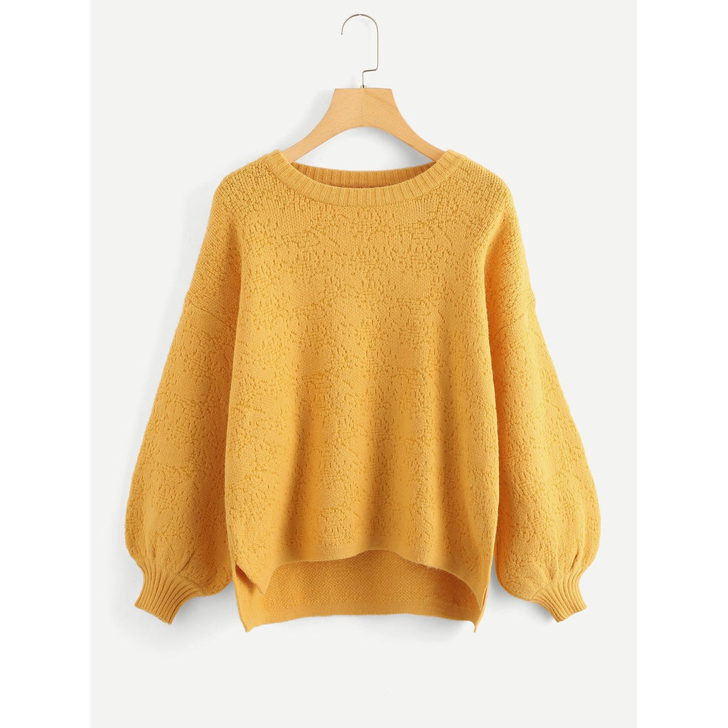 Bishop Sleeve High Low Textured Sweater