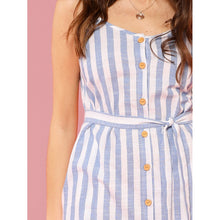 Load image into Gallery viewer, Button Front Vertical Stripe Cami Dress