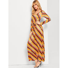 Load image into Gallery viewer, Knot Front Striped Dress