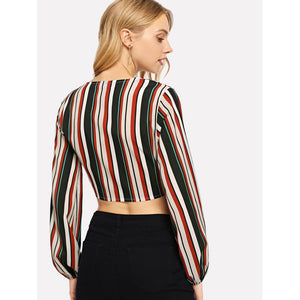 Bishop Sleeve Knot Front Striped Blouse