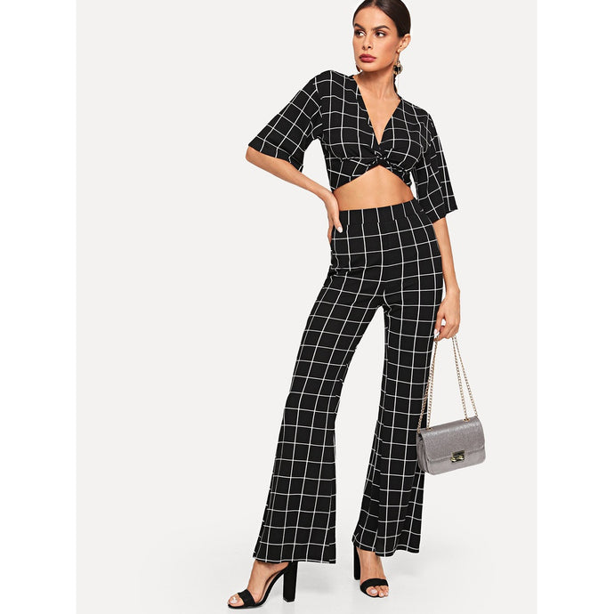 Twist Plaid Crop Top & Pants Co-Ord