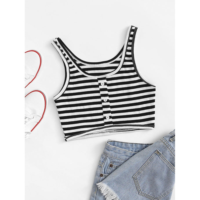 Striped Single Breasted Crop Top