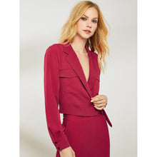 Load image into Gallery viewer, Button Front Notched Neck Belted Blazer