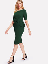 Load image into Gallery viewer, Bow Embellished Peplum Pencil Dress