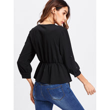 Load image into Gallery viewer, Allover Beading Knot Front Peplum Blouse