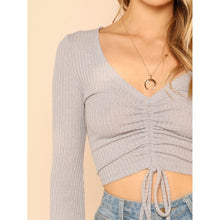 Load image into Gallery viewer, Bell Sleeve Drawstring Crop Top