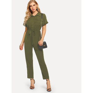 Button Half Placket Drawstring Waist Jumpsuit