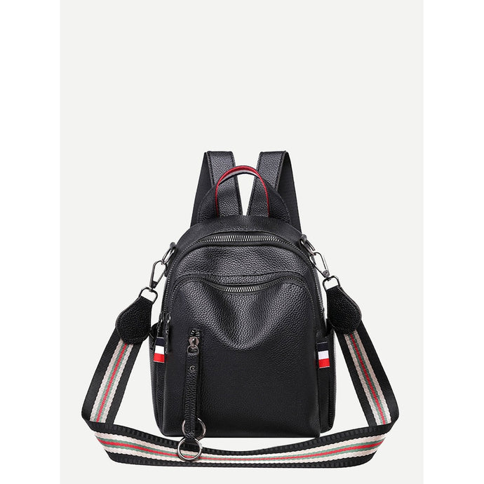 Zip Front PU Backpack
