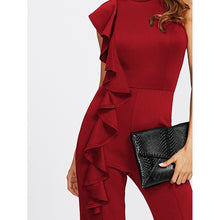 Load image into Gallery viewer, Asymmetrical Flounce Cutout Back Flare Hem Jumpsuit