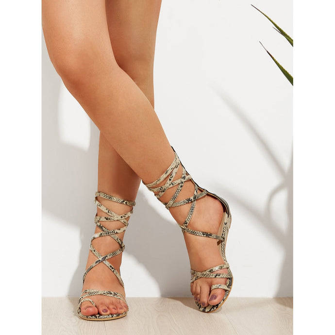Zipper Back Criss Cross Sandals