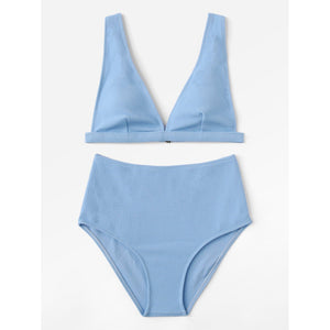 Adjustable Strap Plain Bikini Set