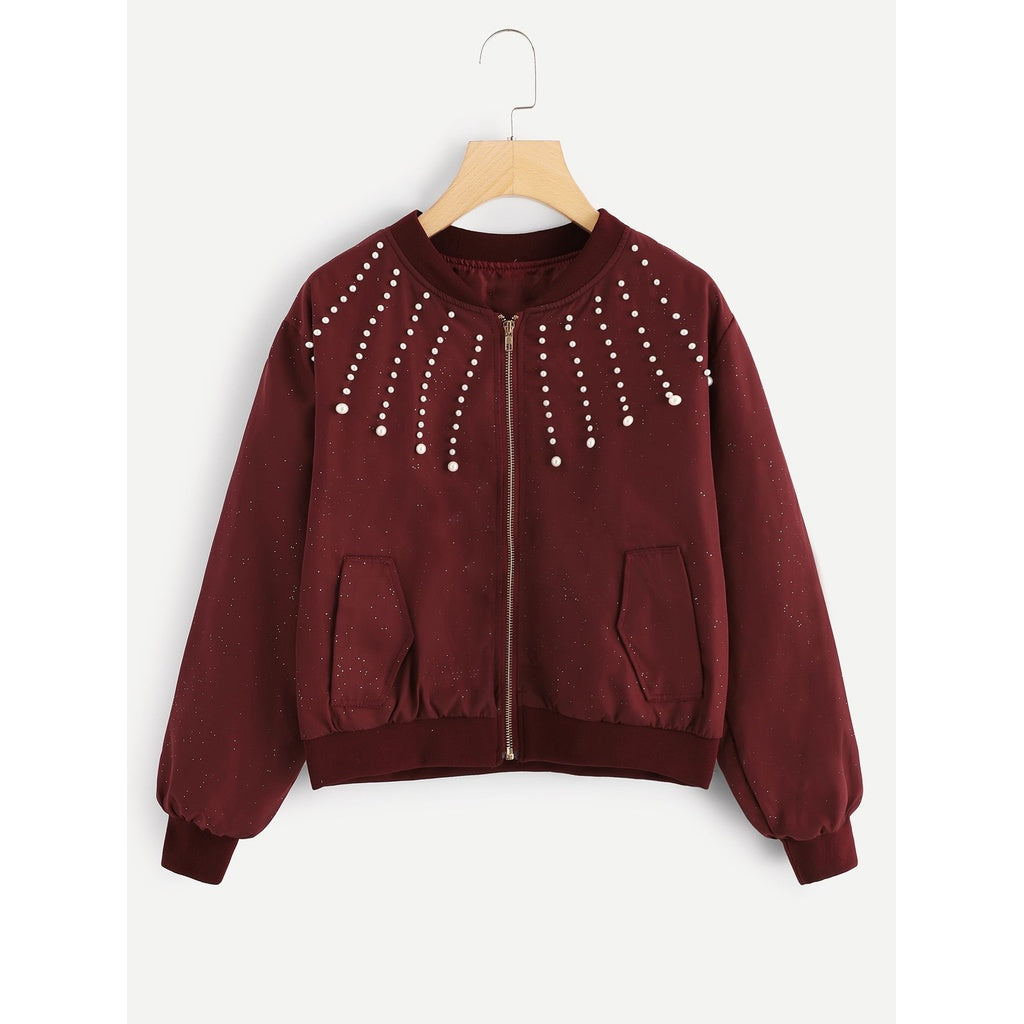 Beaded Detail Zipper Jacket