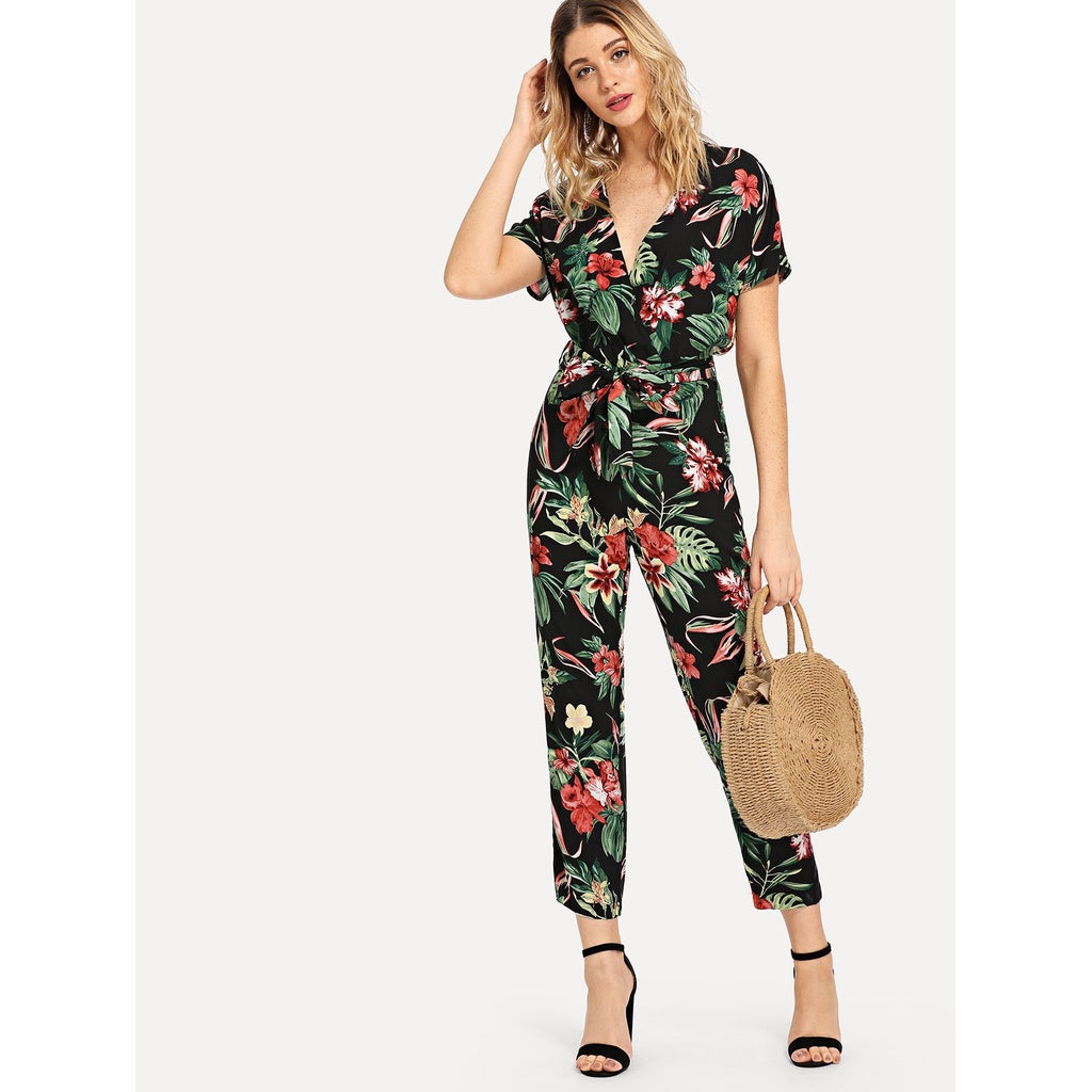 Botanical Print Knot Side Wrap Jumpsuit