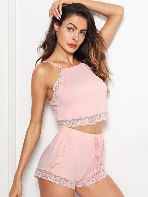 Lace Trim Cami Top & Shorts PJ Set