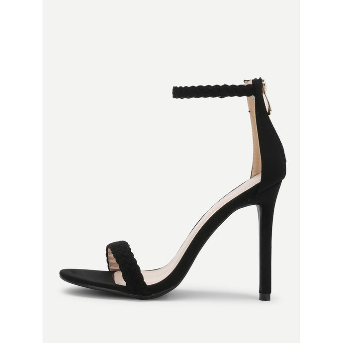 Woven Strap Peep Toe Suede Sandals