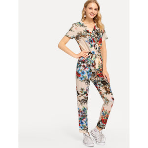Botanical Print Surplice Wrap Jumpsuit