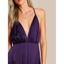 Load image into Gallery viewer, Plunge Neck Crisscross Back High Slit Wrap Cami Dress