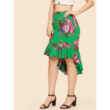Load image into Gallery viewer, Asymmetrical Ruffle Hem Floral Skirt
