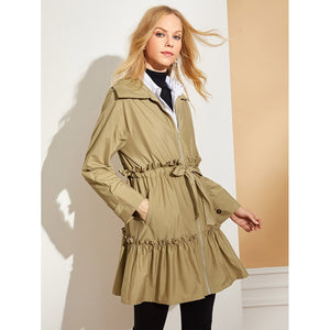 Bow Tie Waist Zip Up Longline Coat