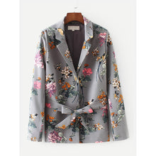 Load image into Gallery viewer, Allover Florals Self Tie Blazer
