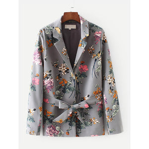 Allover Florals Self Tie Blazer