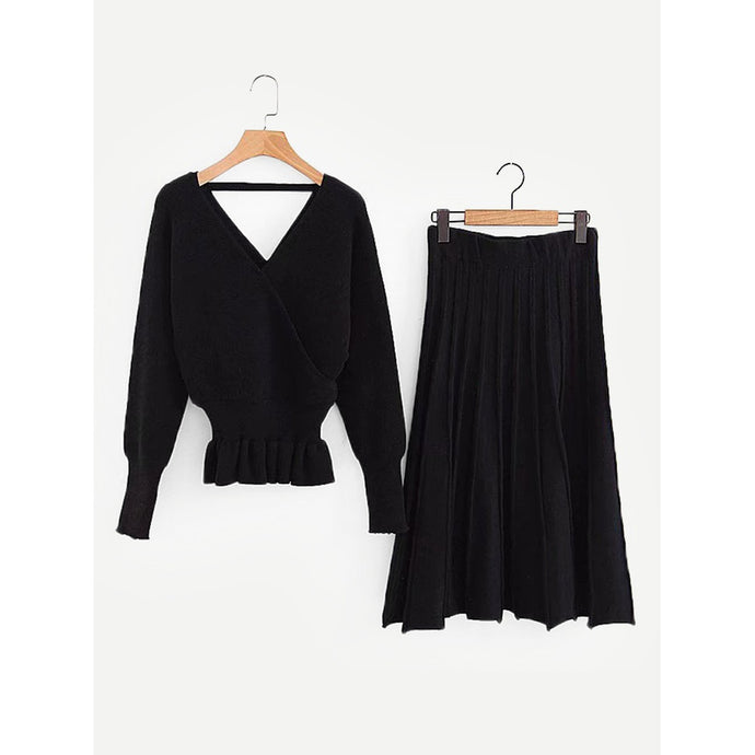 Surplice Neckline Pep Hem Jumper With Skirt