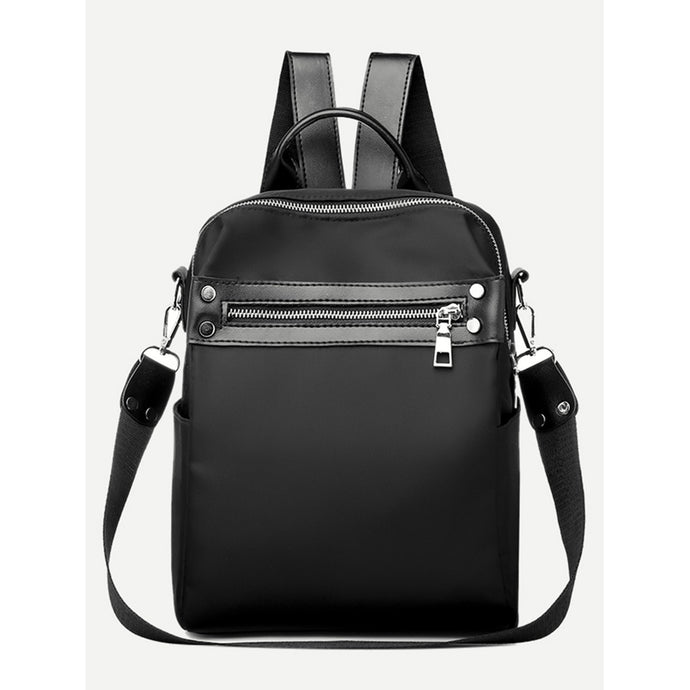 Zip Front Plain Backpack