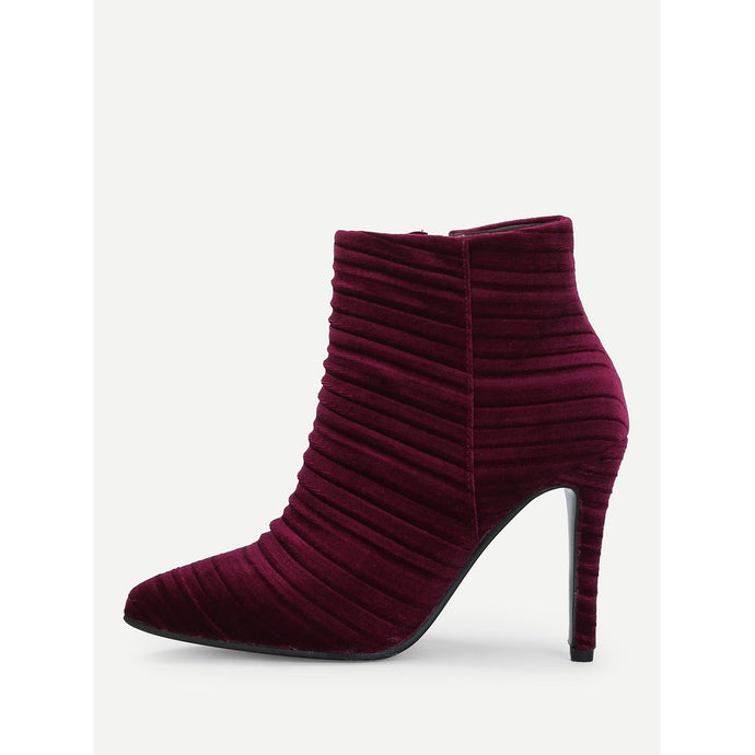 Point Toe Ruched Ankle Boots