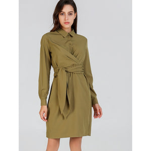 Button Front Belted Collar Neck Dress