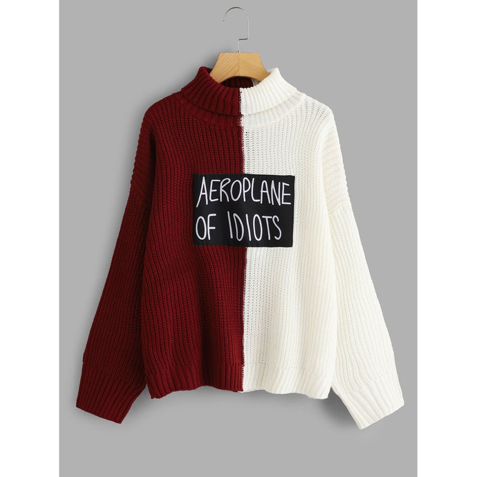 Two Tone Letter Patched Sweater