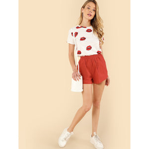 Allover Red Lip Print Tee