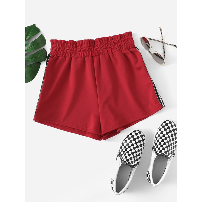 Waist Elastic Striped Shorts