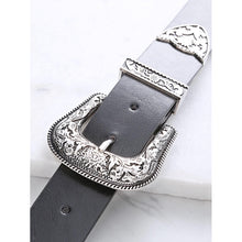 Load image into Gallery viewer, Black Double Vintage Carved Buckle Belt