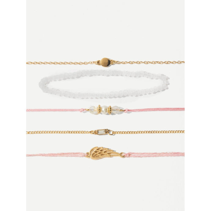 Wing Detail Bracelet Set 5pcs