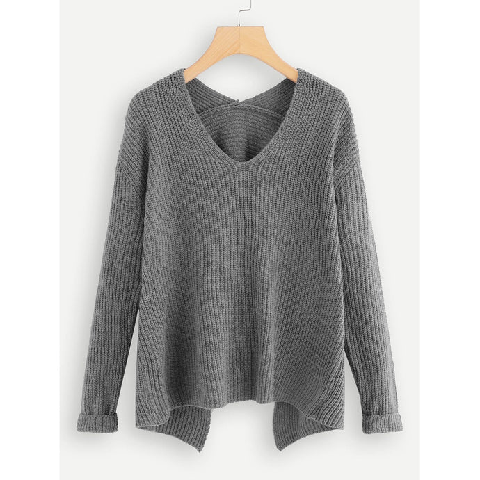 V Neck Asymmetrical Solid Sweater