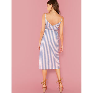 Button Front Vertical Stripe Cami Dress