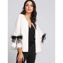 Load image into Gallery viewer, Bow Slit Bell Sleeve Textured Blazer