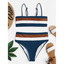 Load image into Gallery viewer, Adjustable Straps Striped Bikini Set