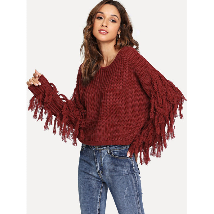 Tassel Detail Drop Shoulder Jumper