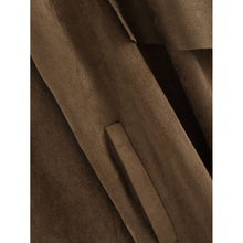 Load image into Gallery viewer, Waterfall Collar Suede Coat