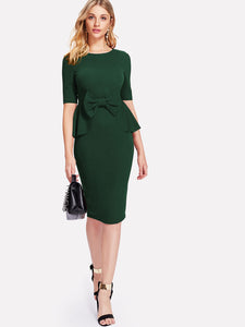 Bow Embellished Peplum Pencil Dress
