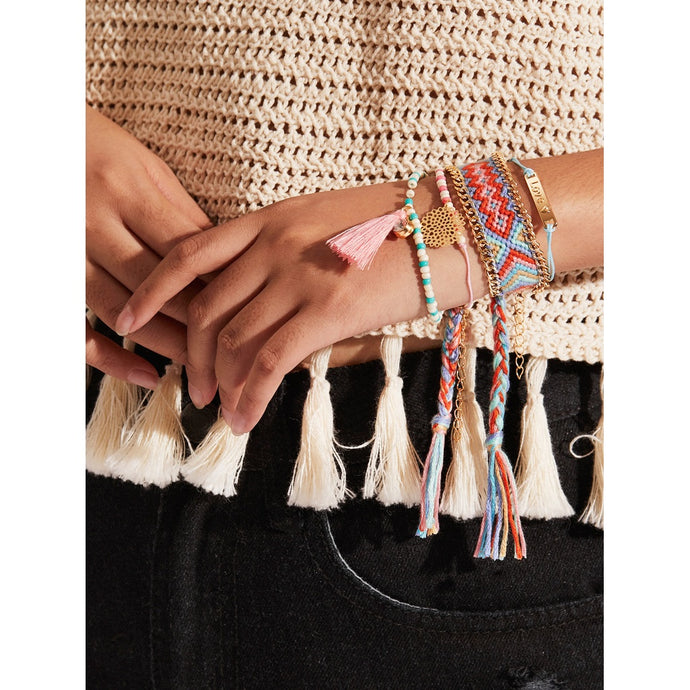Woven & Beaded Bracelet Set With Tassel