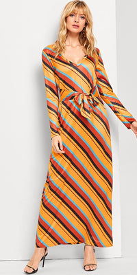 Knot Front Striped Dress