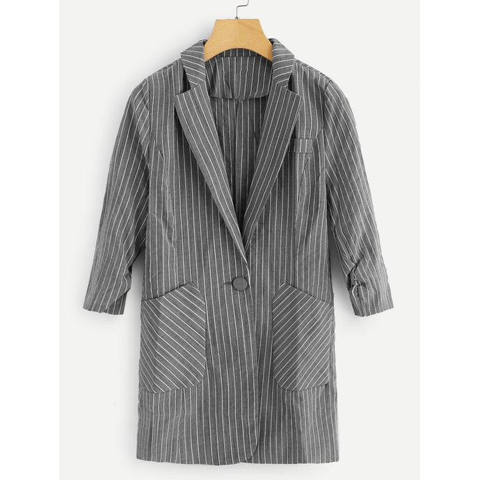 Striped Pocket Decoration Blazer